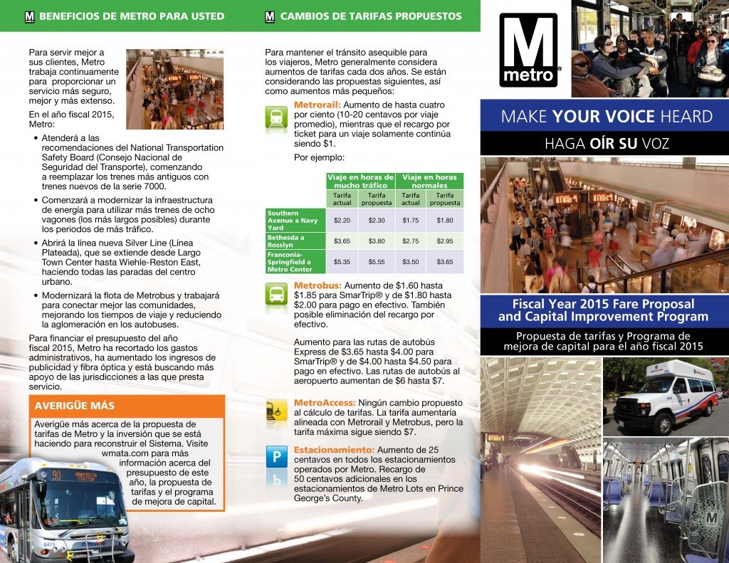 WMATA Fare Increase Brochure - Page 2