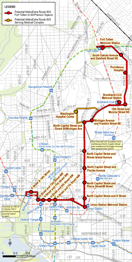 Map of proposed 80X limited-stop service along the North Capitol Street corridor.