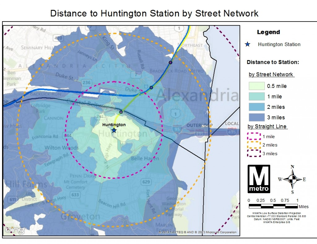 Distance to Huntington Station by Street Network