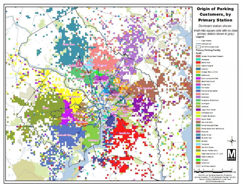 """Map of dominant station of Park & Ride customers, highlighting each station's """"catchment area"""""""