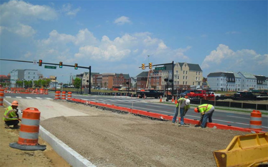 Construction of the Crystal City Potomac Yard Transitway, from May 30, 2013.