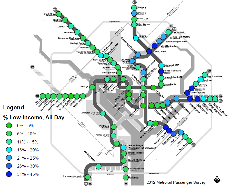 Dc Metro Map Green Line.Planitmetro Where Are Low Income And Minority Metrorail Riders