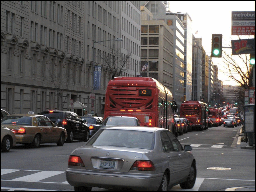 Congestion on I Street caused by bottleneck at 17th Street, creating long queues backing up to 15th Street.