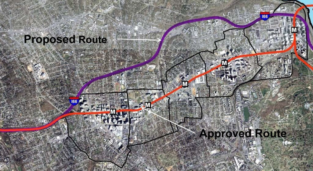 Orange Line - Proposed and Actual Alignments