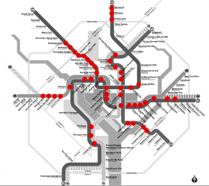 The underground stations marked in red are slated for lighting upgrades.