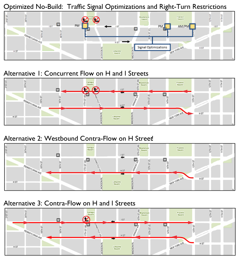 Illustrations of the alternatives evaluated under the H & I Streets analysis. Click image for larger version.