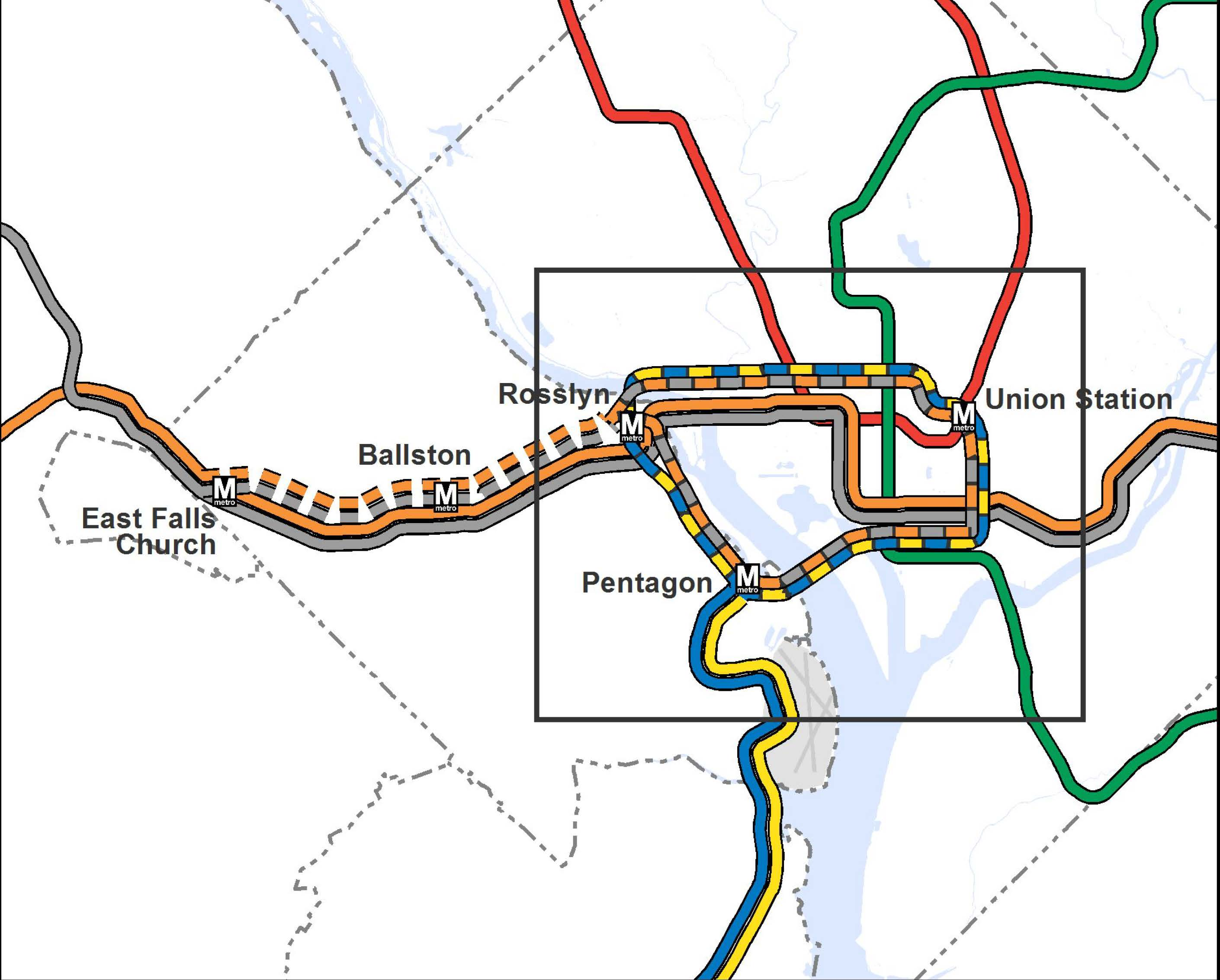 Dc Subway Map With Streets.Planitmetro Proposed 2040 Metrorail Network