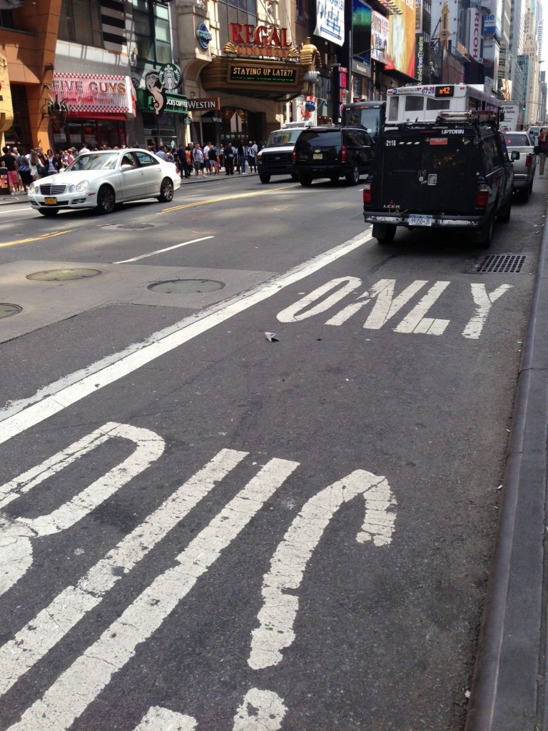 Photo of New York City bus lane violation.
