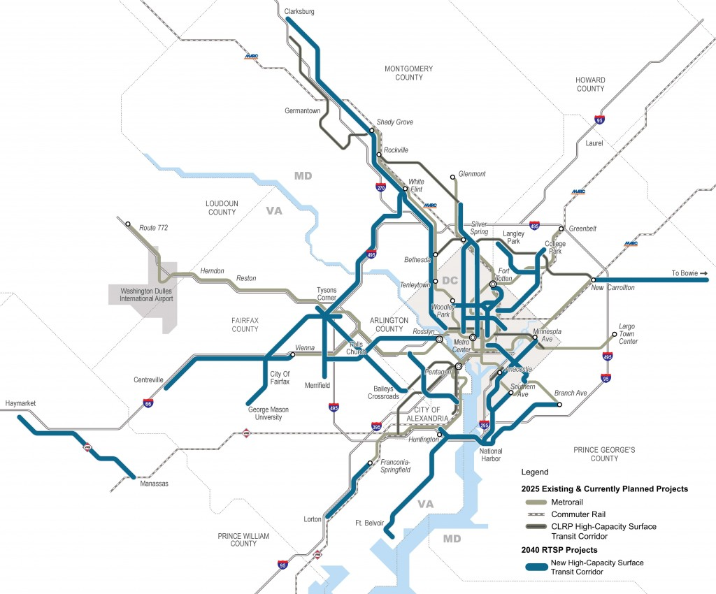Regionally Significant High Capacity Surface Transit Corridors as part of 2040 Regional Transit System Plan