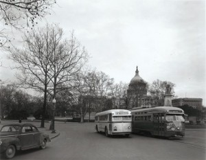 What's old is new again! Capital Transit vehicles sharing the road  in 1947.