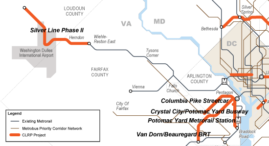 "All major transit projects funded in the CLRP in Northern Virginia depend on the ""backbone"" of Metrorail and Metrobus."