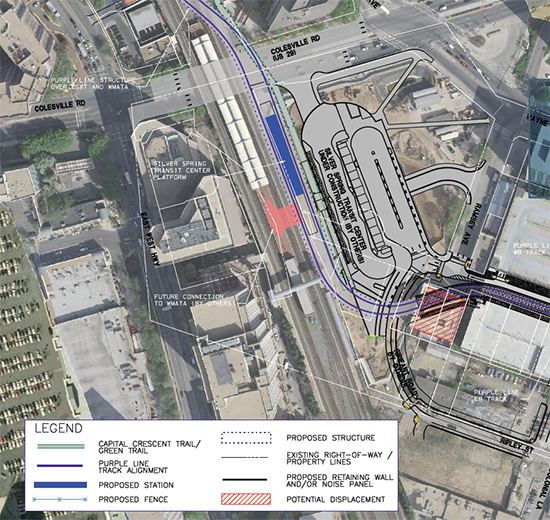 Purple Line station and potential Metrorail connection at Silver Spring.  Source, purplelinemd.com, PDF.
