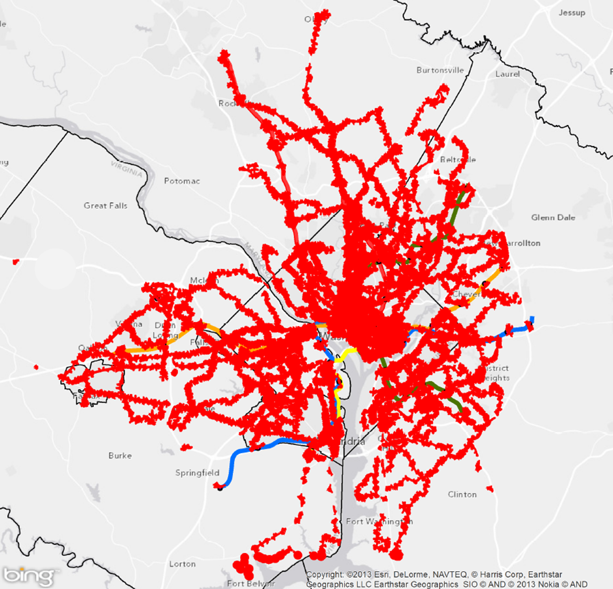 Quarter-mile walk (by the network) for regional Metrobus stops and Metrorail stations