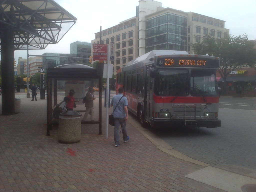 Customers boarding the 23A at Ballston