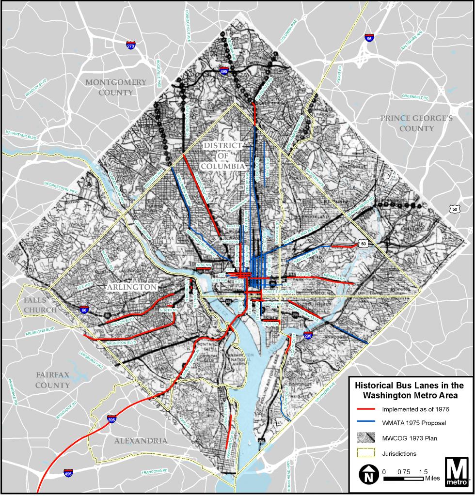 Washington Metro Area Historical Map of Bus Lanes as of 1976