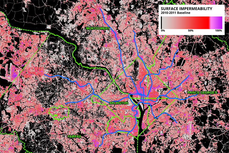 Figure 1 – Map of impermeability throughout the region with overlaid jurisdictional boundaries and Metrorail system for reference. Note the concentrations of highly-impermeable surfaces in central DC and at Dulles.