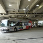 A bus exits to Ramsey Ave.