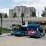 Metrobuses and Ride On practice on the Ramsey Ave. entrance