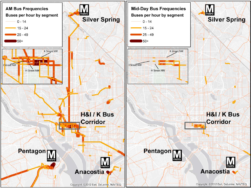 Buses per hour per roadway segment, from the 2012 final technical report on the H & I Street Bus Lanes