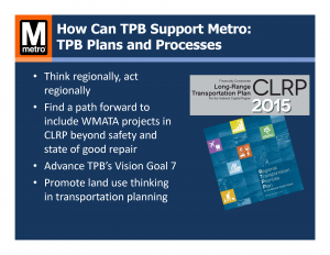 How Can TPB Support Metro: TPB Plans and Processes