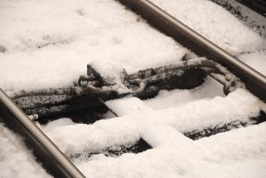 Snow on tracks at Twinbrook Station